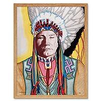 Kihn Yellowhead Medicine Man Native American Portrait Art Print Framed Poster Wall Decor 12x16 inch 黄ネイティブアメリカ人ポートレートポスター壁デコ