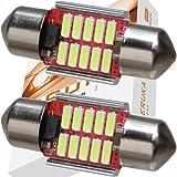 エルカ(Eruka) T10 × 31 LED 31mm 9-33V(瞬間最大耐圧60V) 超強化特注電源回路仕様! 12V 24V 車 兼用 こんなにコンパクト!なのにこの明るさ! 新世代4014型LED10連! 極性フリー! 国内検査品! 2個 ホワイト TS-084-2S