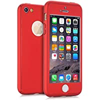 (Red) - iPhone 5 Cases, iPhone 5S Case, iPhone SE Case, VPR 2 in 1 Ultra Thin 360 Full Body Protection Hard Premium Luxury Cover Shock Absorption Skid-proof PC Case for for Apple iPhone 5 5S SE (Red)