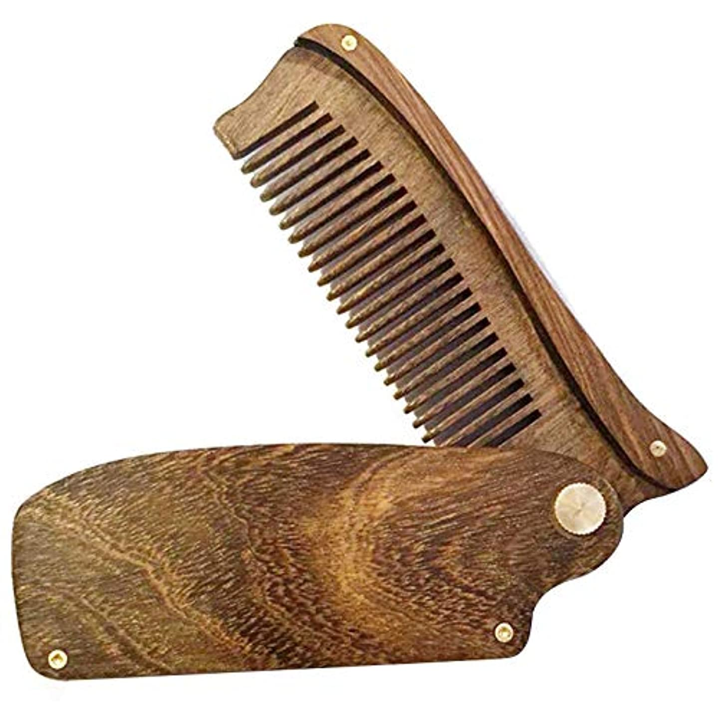 安西出演者設計SODIAL ブラックゴールド?サンダルウッド メンズ 折りたたみコーム ポータブル木製コーム サンダルウッド ひげ形状のくし