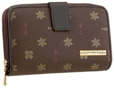 [パーソンズ] モノグラムプリントファスナー付二つ折り財布 チョコ 63044