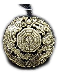 石街 isigaii 超迫力天然石極上ゴールドオブシディアン龍鳳呈祥八卦彫り ネックレス