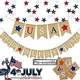 USA 独立記念日 バナーガーランド - 独立記念日パーティー用品 黄麻布製お祝い - 赤白青アメリカ記念日の退役軍人の日のデコレーション - アウトドアマントル壁装飾写真小道具サイン