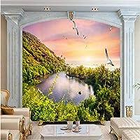 Wuyyii 大カスタム壁紙モルディブビーチココナッツエーゲ海のリビングルームのベッドルームテレビ装飾絵画-400X280Cm