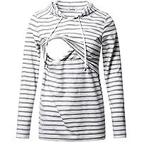 GINKANA Women's Nursing Hoodie Sweatshirt Long Sleeves Breastfeeding Maternity Tops Casual Clothes
