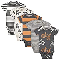 Grow by Gerber Baby Boys Organic 5-Pack Short-Sleeve Onesies Bodysuits