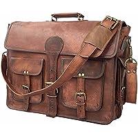 Madosh, Men's Genuine Brown Leather Briefcase Shoulder Bag Crossover Formal Business Laptop Bag Office Vintage Bag