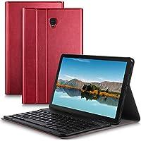 IVSO Samsung Galaxy Tab S4 10.5 SM-T830 (Wi-Fi)/SM-T835 (LTE) キーボード 専用 Samsung Galaxy Tab S4 10.5 SM-T830 (Wi-Fi)/SM-T835 (LTE) keyboard ケース スタンド機能カバー Newモデル ワイヤレス 一体型 手帳型 PUレザーケース付き 電池内蔵 持ち運び便利 無線キーボード サムスン Galaxy Tab S4 10.5 SM-T830 (Wi-Fi)/SM-T835 (LTE) 対応 レッド