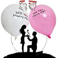 100個/ロット12インチロマンチックピンクとホワイト天然ラテックスインフレータブルWill You Marry Meバルーンto make a提案for your恋人、結婚記念日装飾