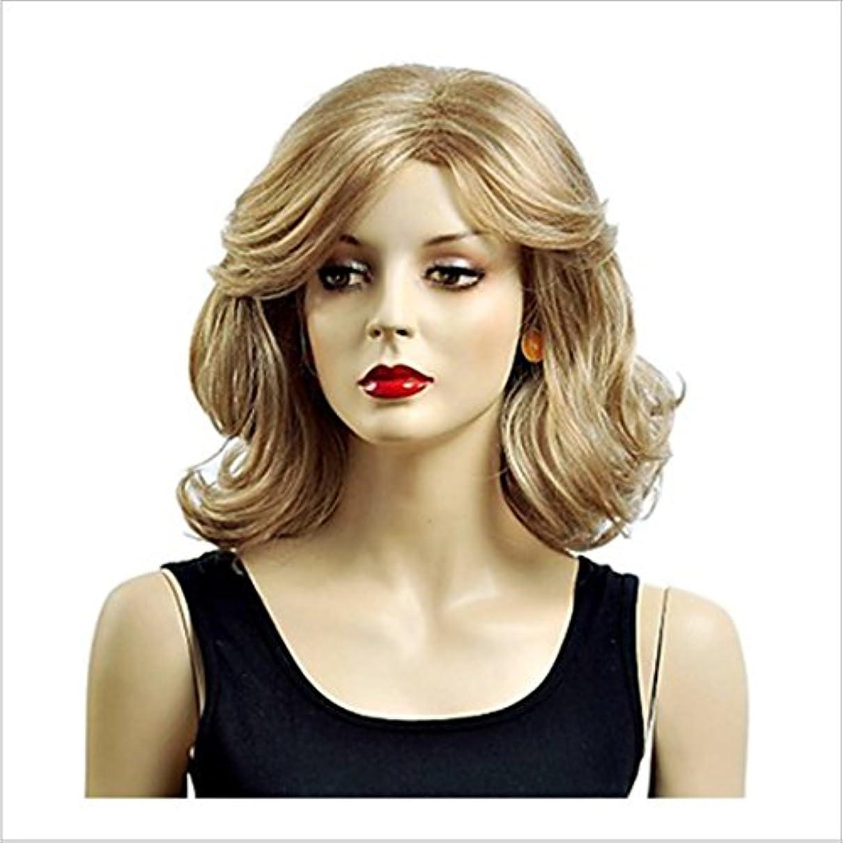 晩餐復活するモニターYOUQIU スプリット前髪16で耐性ホワイトゴールドの女性のカーリーウィッグショートふわふわ波状人工毛自然なカーリーウィッグデイリーウィッグ耐熱ウィッグのために「」180グラム(ゴールド)ウィッグ (色 : ゴールド)