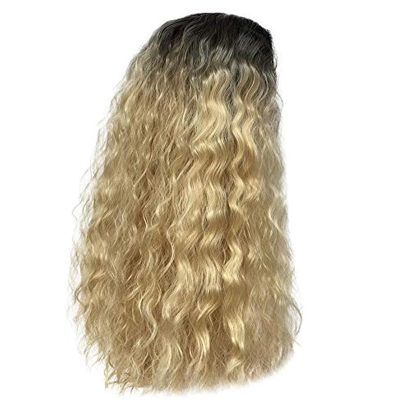 こんにちは形式適格かつらゴールドグラデーション長い巻き毛ふわふわ爆発ヘッドローズネット