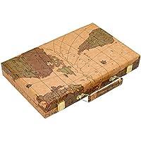 Once ZY Time PUレザー+木製 高級バックギャモンセット ボードゲーム 教育玩具 親子ゲーム 世界地図 ポータブル旅行ケース ダイスカップ付き 15インチ