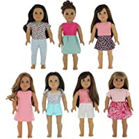 American Girl Doll Clothes Wardrobe Makeover- 7 Complete Outfits, Fits 46cm Doll Clothes- by PZAS Toys