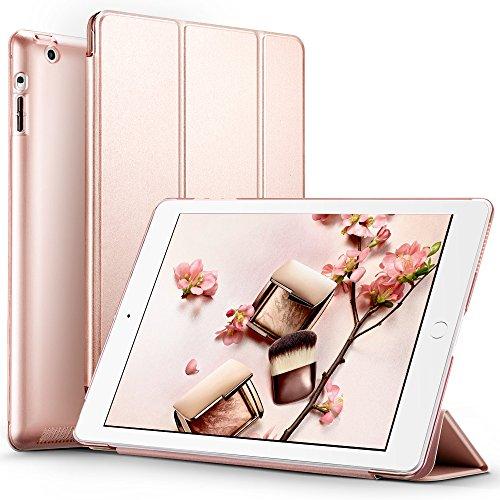 iPad2 ケース クリア ESR iPad3 ケース スタンド機能 iPad4 ケース レザー(PU) オートスリープ 傷つけ防止 三つ折タイプ iPad2/3/4世代専用スマートカバー(ローズゴールド)