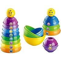 プラスチック製 スタッキングアップ カップ  虹の色 子供  知育玩具 お誕生プレゼント