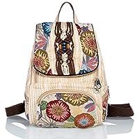 CXQ 文学的な新鮮なナショナルスタイルのバックパック大容量のキャンバスのバックパック女性の手織りの蝶のバックパック