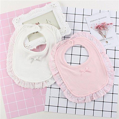 Limi ベビー 赤ちゃん 女の子 おしゃれ よだれかけ スタイ ビブ 2枚組 かわいい レース リボン 綿100% スナップボタン式 ホワイト ピンク