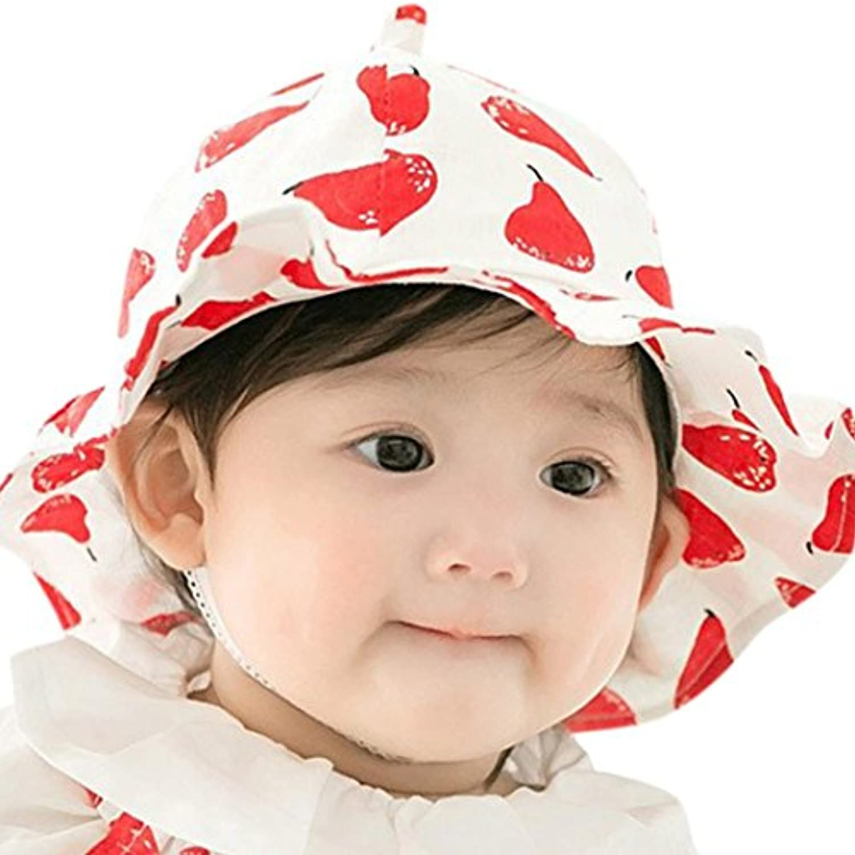 Kukiwa ベビー 帽子 赤ちゃん 調節可能 果物プリント キャップ UVカット日除け付き 紫外線対策 春 夏 秋   (46-50cm, 赤)