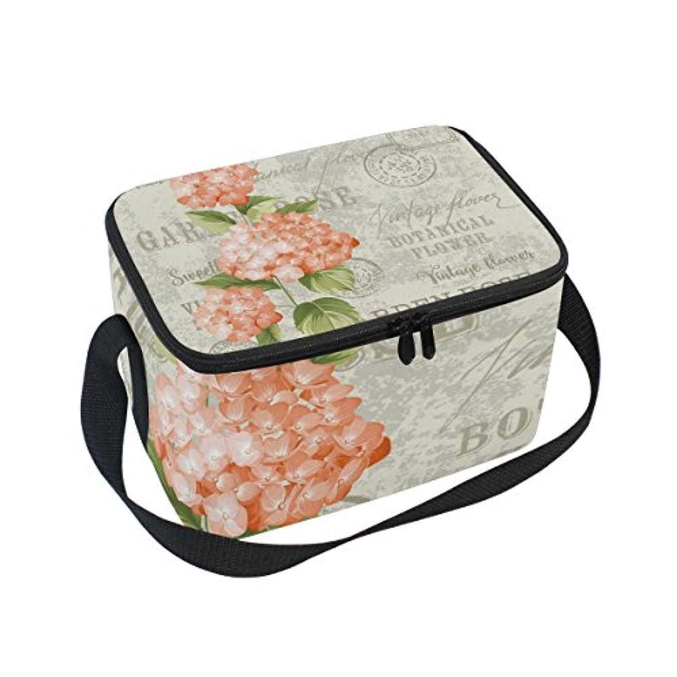 お手伝いさんアンドリューハリディ綺麗なクーラーバッグ クーラーボックス ソフトクーラ 冷蔵ボックス キャンプ用品  アジサイ 花柄 オレンジ 保冷保温 大容量 肩掛け お花見 アウトドア