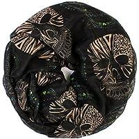 Riah Fashion Women's Sugar Infinity Skull Scarves (Black)