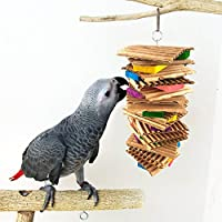 goupgolboll-カラフルなオウムのおもちゃペット鳥かむ木製ブロック板紙ケージぶら下げ装飾 - ランダムな色