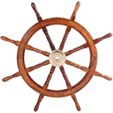 """TUP The Urban Port SH 8764 36"""" Teak Wood Ship Wheel with Brass Inset and Eight Spokes, Brown and Gold"""