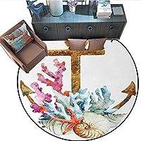 アンカープリント エリアラグ 水彩 ビーチ シングス アーティスティック 海岸 デザイン オーシャンアドベンチャー ジャーニー ホームデコ フォアカーペ (直径55インチ) ペールブルー ペールコーヒー 6'/1.8m