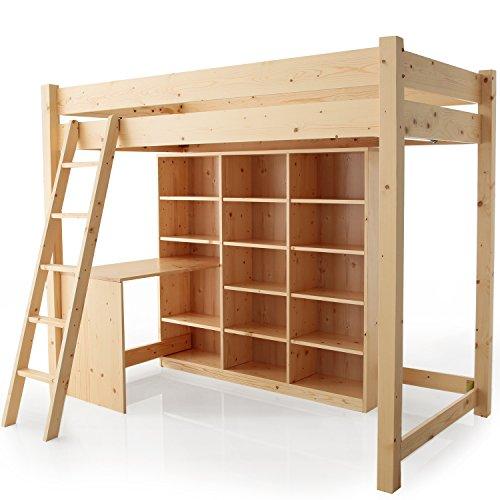 LOWYA (ロウヤ) ロフトベッド 大容量本棚・デスク付き すのこ 無垢材 はしご位置自由 木製 シングルサイズ ナチュラル おしゃれ 新生活