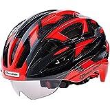 サイクリング自転車用ヘルメット サイクリングヘルメット男性/女性通気性32通気孔ゴーグルMTBロード自転車バイクヘルメット付き3ペアレンズ スポーツ用保護ヘルメット (色 : 001)