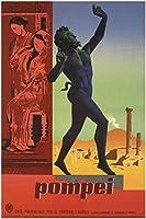 Pompei、ビンテージ旅行複製Rolledキャンバスプリント24x 36で。