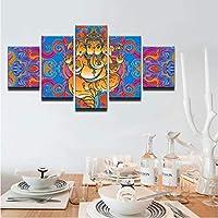 現代のキャンバス絵画HDプリントウォールアートフレームモジュラー抽象写真家の装飾5ピースインド神ガネーシャポスター