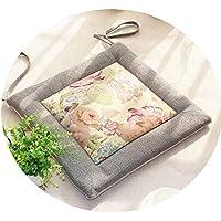 リネンオフィスの畳のクッションマット夏の通気性のシンプルな家庭食卓のクッション,(方形)灰边+花面,直径50*45*厚4cm
