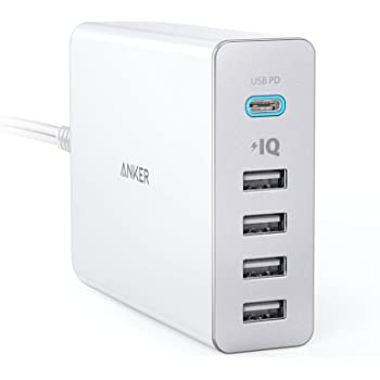 Anker PowerPort+ 5 USB-C Power Delivery (60W 5ポート Power Delivery搭載 USB&USB-C 急速充電器) 新しいMacBook/iPhone / iPad/Android 各種他対応 (ホワイト)
