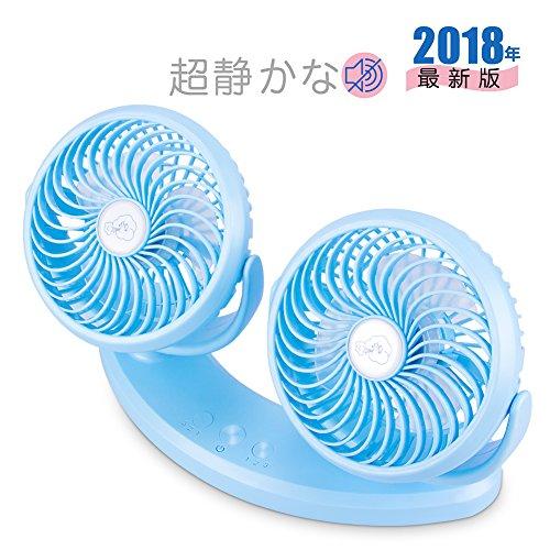 車載 首振り扇風機 ダブルファン 小型 USBミニ扇風機 ダ...