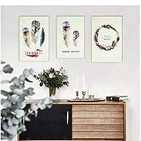3ピースHD水彩シンプルな色の羽ポスターアートプリント壁絵北欧キャンバス絵画キッズルーム家の装飾-60×80センチなしフレーム