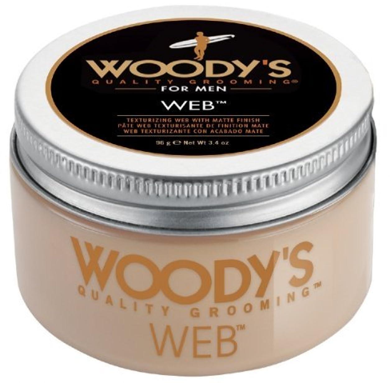 タックオーバーヘッドステンレスWoody's Men Hair Styling Web Pomade Matte Finish Wet Or Dry Hair Cr??me Gel 96g by Woody's [並行輸入品]