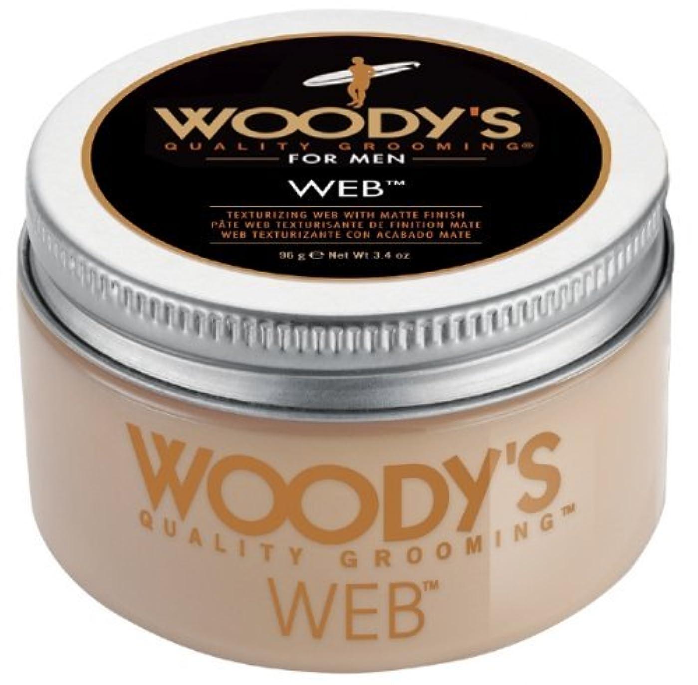 ありがたい夫婦製造業Woody's Men Hair Styling Web Pomade Matte Finish Wet Or Dry Hair Cr??me Gel 96g by Woody's [並行輸入品]