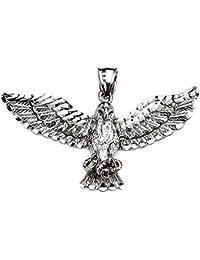 10 Kホワイトゴールド詳細なAmerican Bald Eagleペンダント