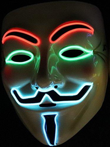 【hikom.hikom】LED 光る アノニマス マスク ガイ・フォークス グイド・フォークス ハロウィン パーティ コスプレ 二次会 hikom.hikom特製バッグ付 (レッド)