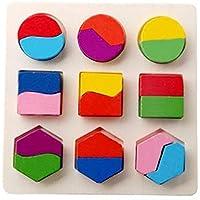 e-scenery木製教育Preschool形状カラー建物ブロックパズル、幾何ボードJigsawブロック幼児用おもちゃfor 1 – 6年オールズモビルand up Kid子供男の子女の子ベビー マルチカラー E-SCENERY