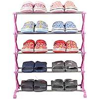 靴のラック5ティアステンレススチールキャビネット靴オーガナイザー棚10ペア(ピンク)56 * 26 * 66cm