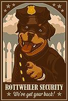 rottweiler–レトロセキュリティAd 12 x 18 Signed Art Print LANT-55088-708