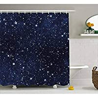 WZYMNYL ナイトシャワーカーテンスターフィルドダークスカイ鮮やかな天体のテーマコスモス銀河団星座生地風呂カーテン