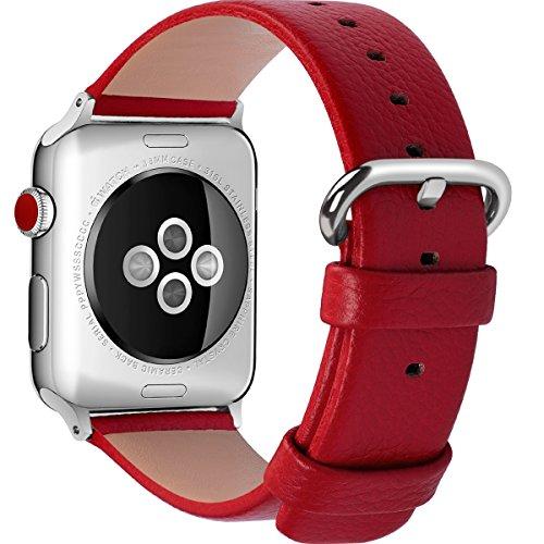 全15色 Apple Watch バンド ベルト, Fullmosa Apple Watch Series 1 2 3 バンド 本革レザー ベルト交換用ラグ付き アップルウォッチバンド レッド 38mm