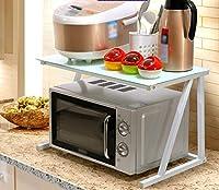 ZWL 電子レンジオーブン、多機能ファッション現代保存スペース炊飯器シェルフ調味料収納ラック強化ガラスアイアンアートレイヤー60 * 37 * 37cm 、キッチン用ヘルパー ( 色 : White frame , 三 : #2 )