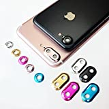 Kobwa iPhone7Plus専用 カメラレンズリング 液晶保護フィルム アルミ 合金 出っ張り傷防止 カメラガード 貼り付け メタル ホールド 強化ガラスフィルム ハードシート レンズカバー アイフォン プロテクター膜 (ブラック)