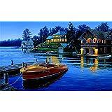 Diyの油絵子供のためのデジタル油絵大人初心者16x20インチ、係留ボート--クリスマスの装飾ホームインテリアギフト (フレームなし)