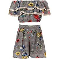 BNY Corner Girls 2 Pieces Pant Set Floral Casual Summer Birthday Outfit 4-14