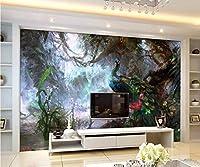 Minyose カスタム3D壁紙美しい孔雀絵画テレビの背景の壁のリビングルームの寝室の背景の壁の壁画3Dの壁紙-200cmx140cm