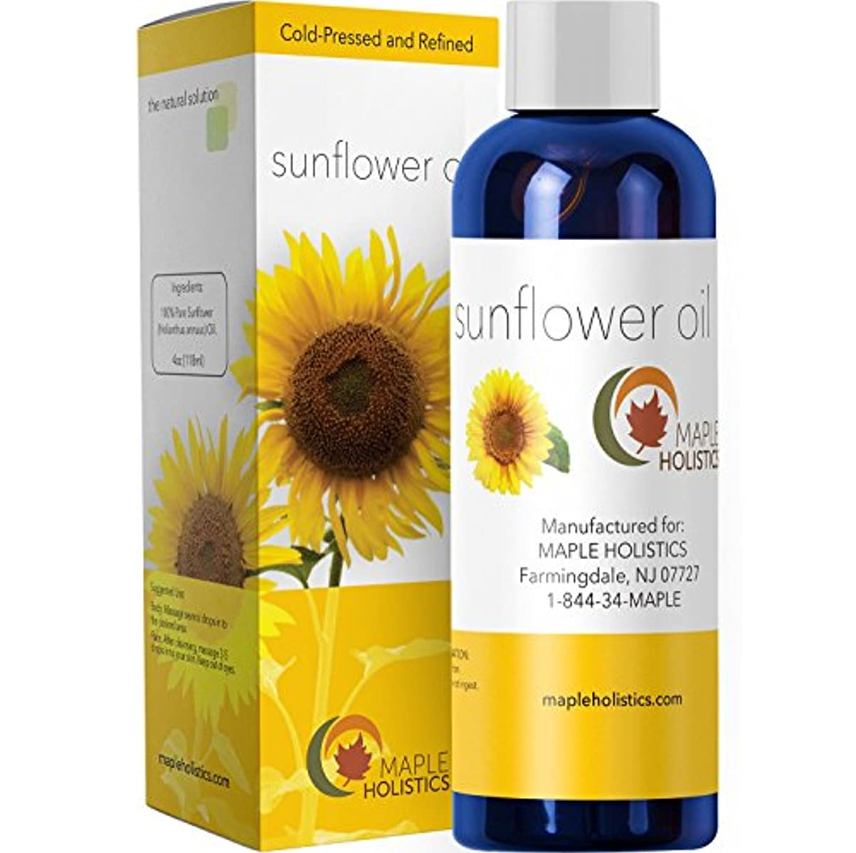 ディンカルビル人柄殺しますPure Sunflower Seed Oil - Cold Pressed for Greatest Efficacy - Use on Hair, Skin & Body for Advanced Hydration...